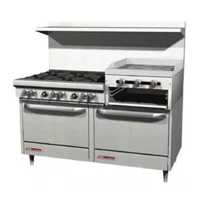 "Southbend S60DD-2RR 60"" 6-Burner Gas Range with Griddle & Broiler, LP"