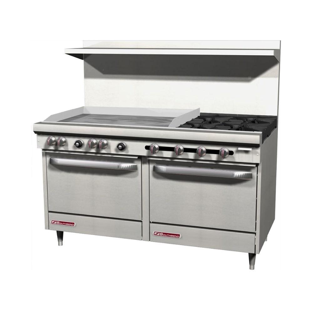 """Southbend S60DD-3GL 60"""" 4-Burner Gas Range with Griddle, LP"""