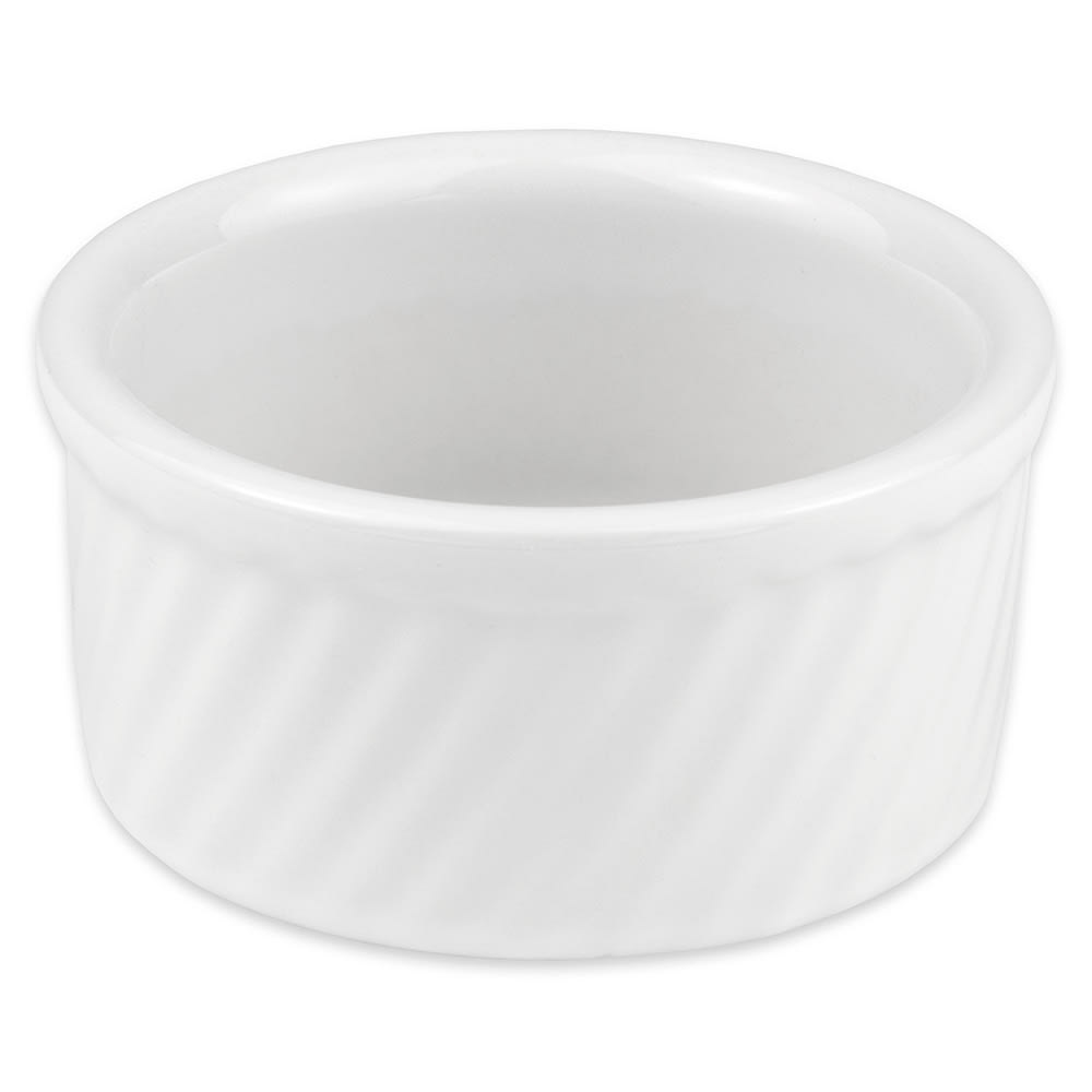 "Hall China 4980ABWA 4"" Round Souffle Dish w/ 8-oz Capacity, White"