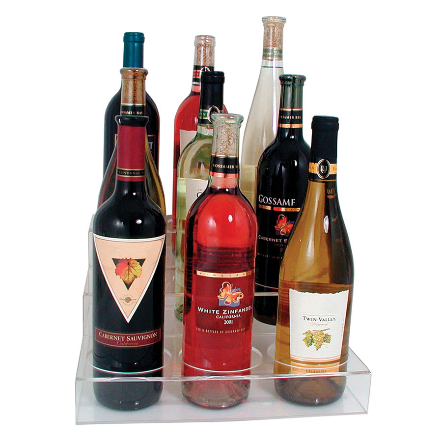 Update ABO-3X3 3 Tier Wine Bottle Display - (9)Bottle, Acrylic