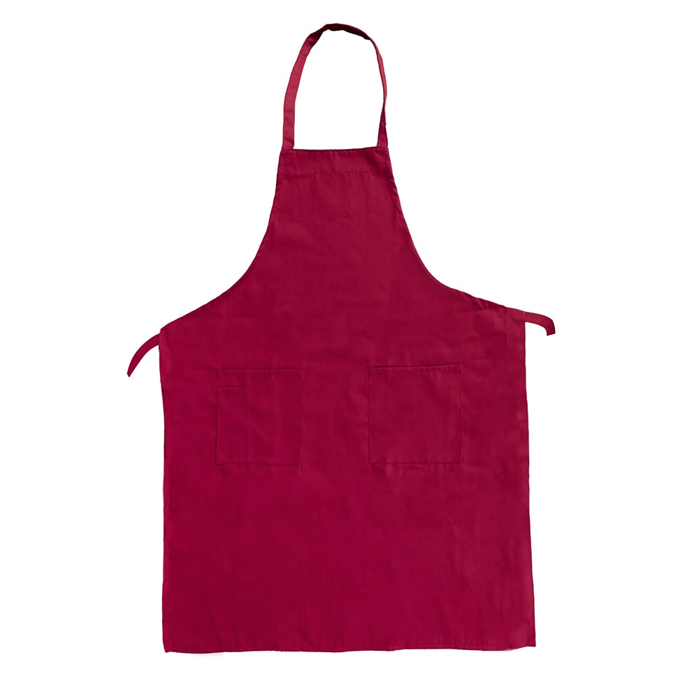 "Update BAP-BU Bib Apron - (3)Pocket, 33x28 1/2"" Poly/Cotton, Burgundy"