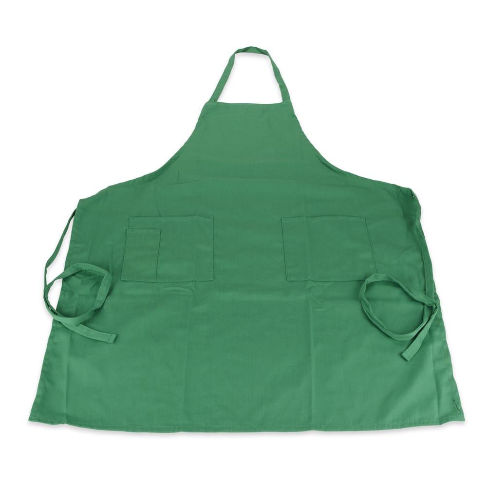 """Update BAP-GR Bib Apron - (3)Pocket, 33x28-1/2"""" Poly/Cotton, Green"""