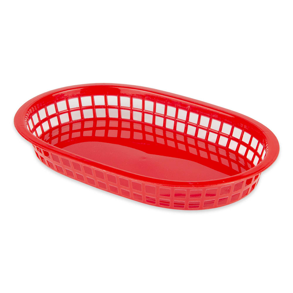 "Update BB107R Oval Fast Food Basket - 10 1/2x7x1 1/2"" Plastic, Red"