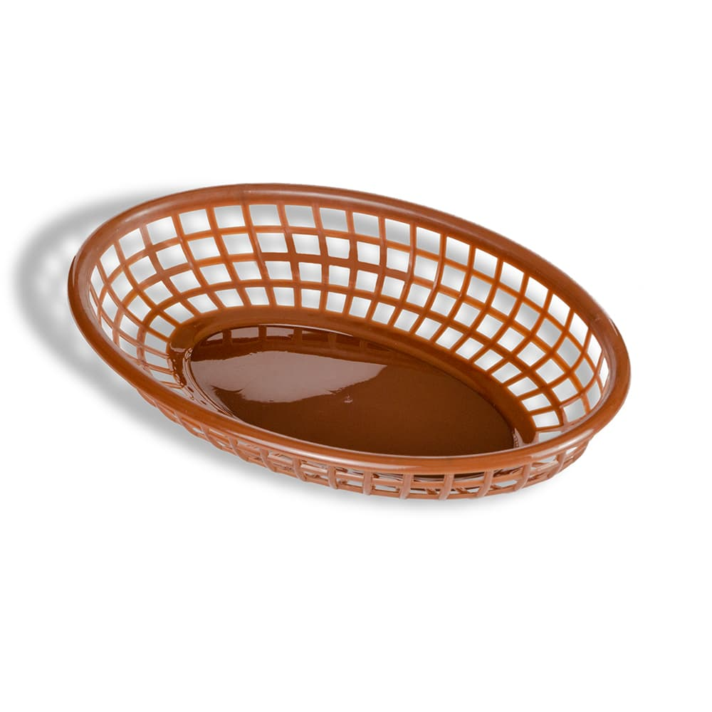 "Update BB96B Oval Fast Food Basket - 9-1/4 x 5-3/4"" Plastic, Brown"