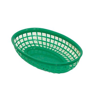 """Update BB96G Oval Fast Food Basket - 9 1/4 x 5 3/4"""" Plastic, Green"""
