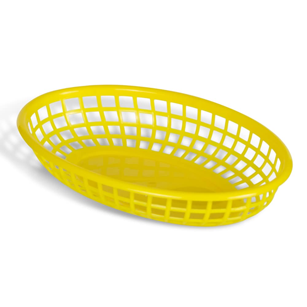 """Update BB96Y Oval Fast Food Basket - 9-1/2x7"""" Plastic, Yellow"""