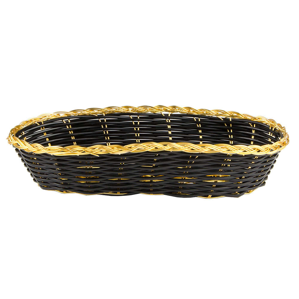 "Update BBV-94 Oval Bread Basket - 8-1/2x4-1/2"" Black/Gold"