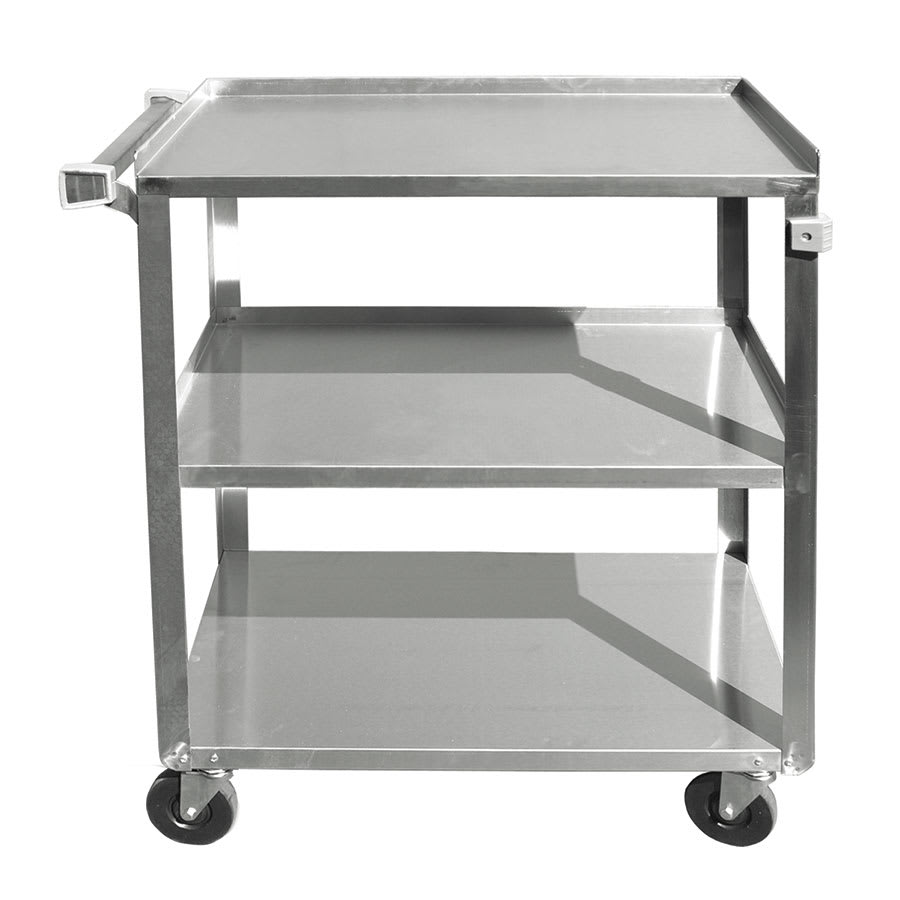 Update Bc 2415ss 27 L Metal Bus Cart W 3 Levels Shelves Stainless