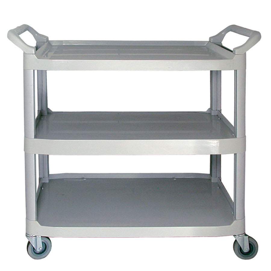 "Update BC-2416LG 32""L Polymer Bus Cart w/ (3) Levels, Shelves, Gray"