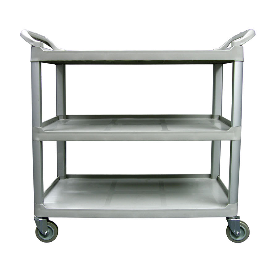 "Update BC-3520GZ 40""L Polymer Bus Cart w/ (3) Levels, Shelves, Gray"