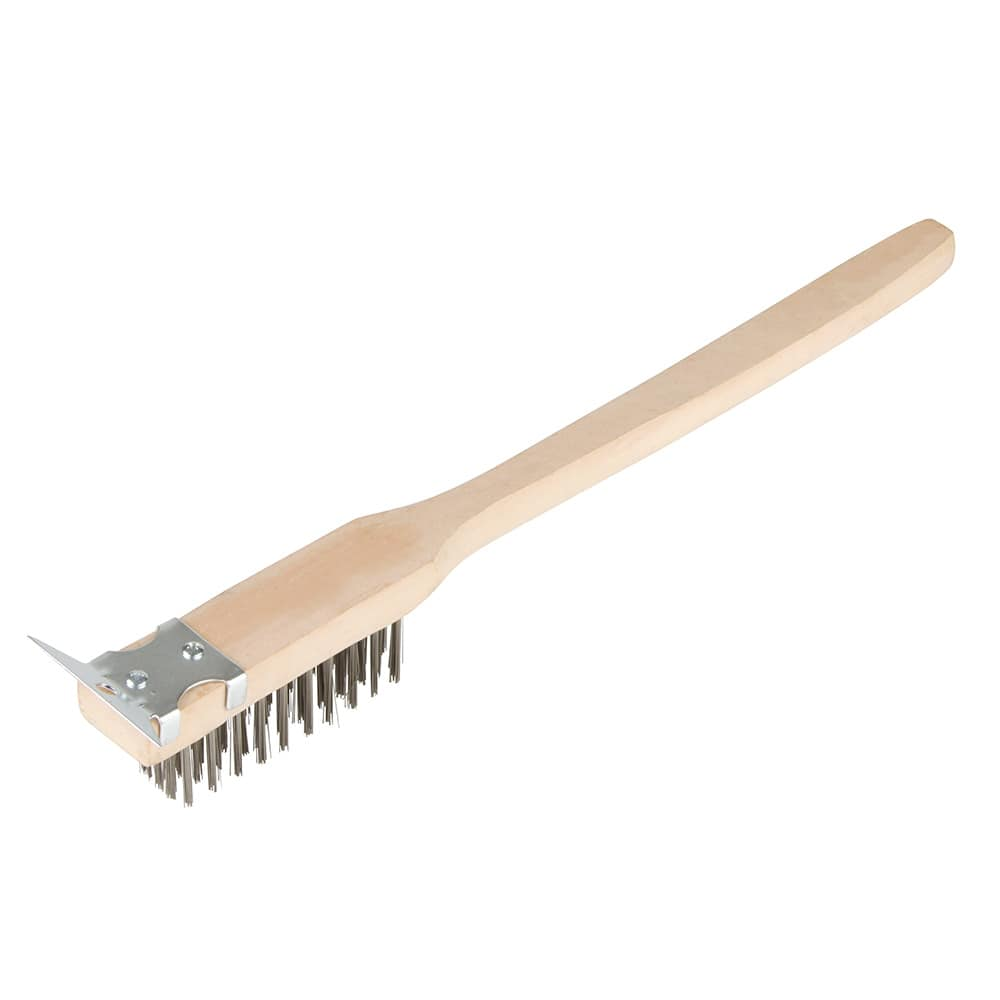 "Update BRW-20HD 20"" Wire Brush with Scraper - Stainless/Wood"