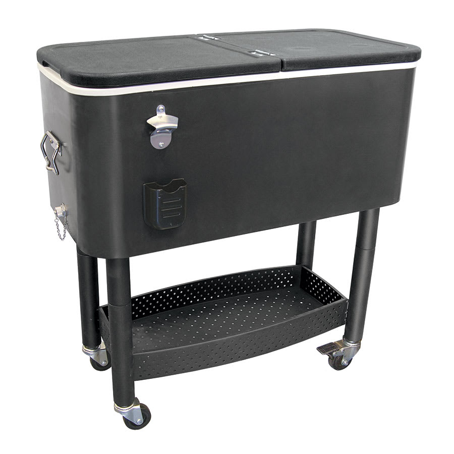 update cc 65b 65 qt cooler cart w bottle opener cap catcher black. Black Bedroom Furniture Sets. Home Design Ideas