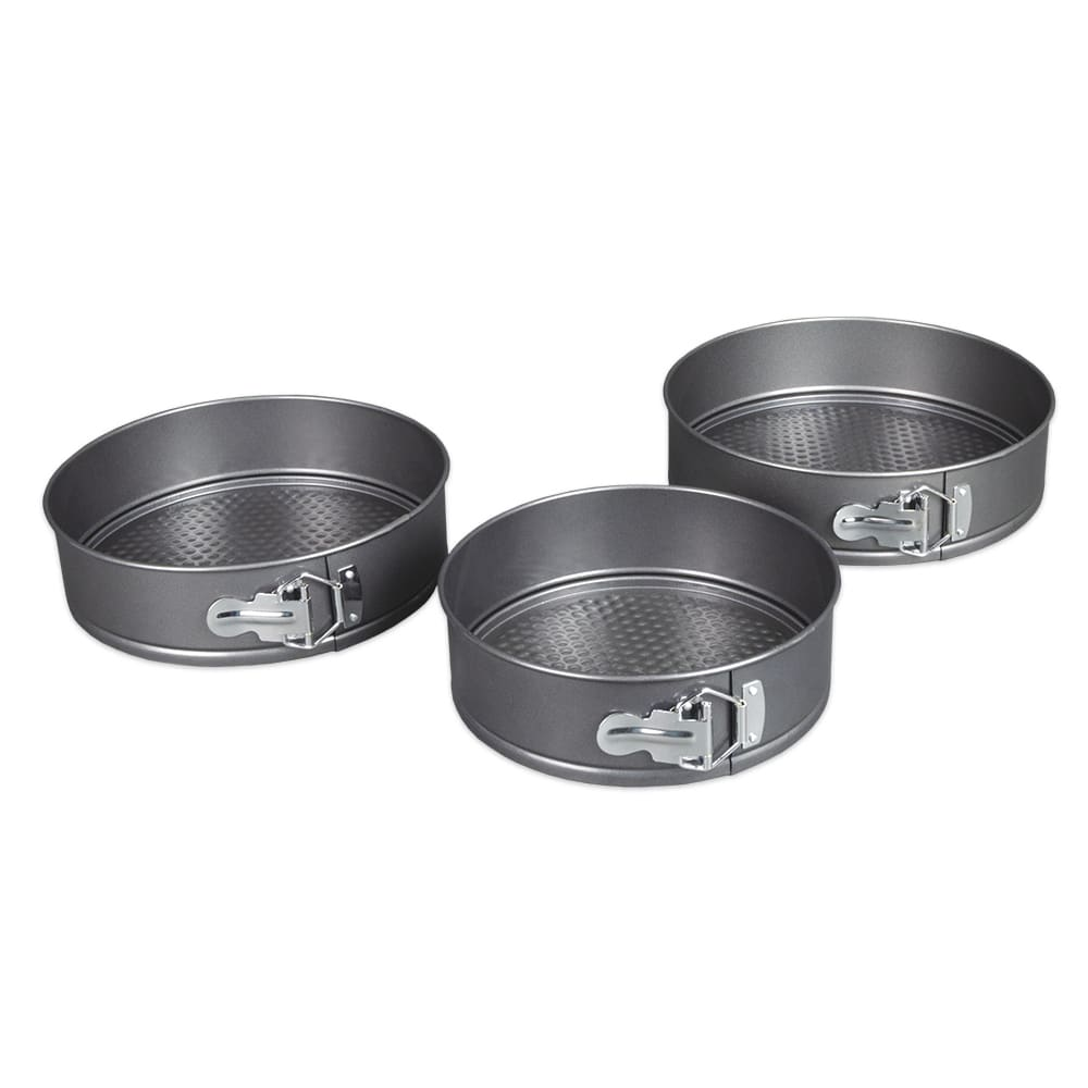 "Update CPSF-SET Round Spring Form Cake Pan Set (3) - 8/9/10"" Nonstick, Carbon Steel"