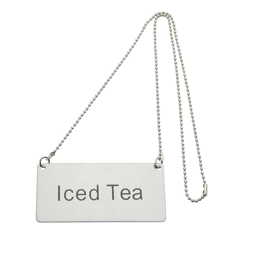 """Update CS-ITE Hanging """"Iced Tea"""" Sign w/ 24"""" Chain - 1.75"""" x 3.5"""", Stainless"""