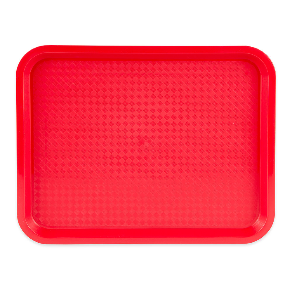 "Update FFT-1014RD Rectangular Fast Food Tray - 10x14"" Red"