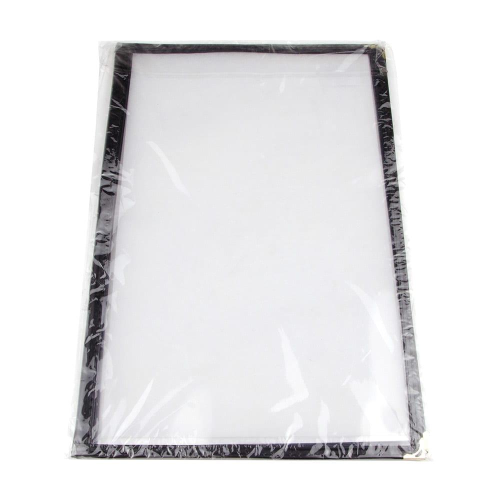 "Update MCL-2BK Double Fold Menu Cover - 11x14"" Transparent/Black"
