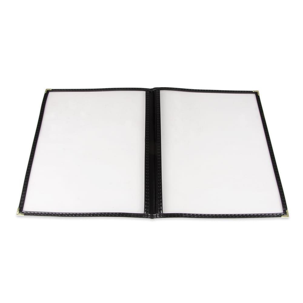 """Update MCV-2BK Double Fold Menu Cover - 9 1/4x12"""" Transparent/Black"""