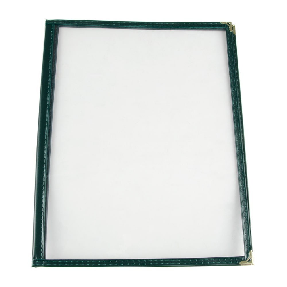 "Update MCV-2GR Double Fold Menu Cover - 9 1/4x12"" Transparent/Green"