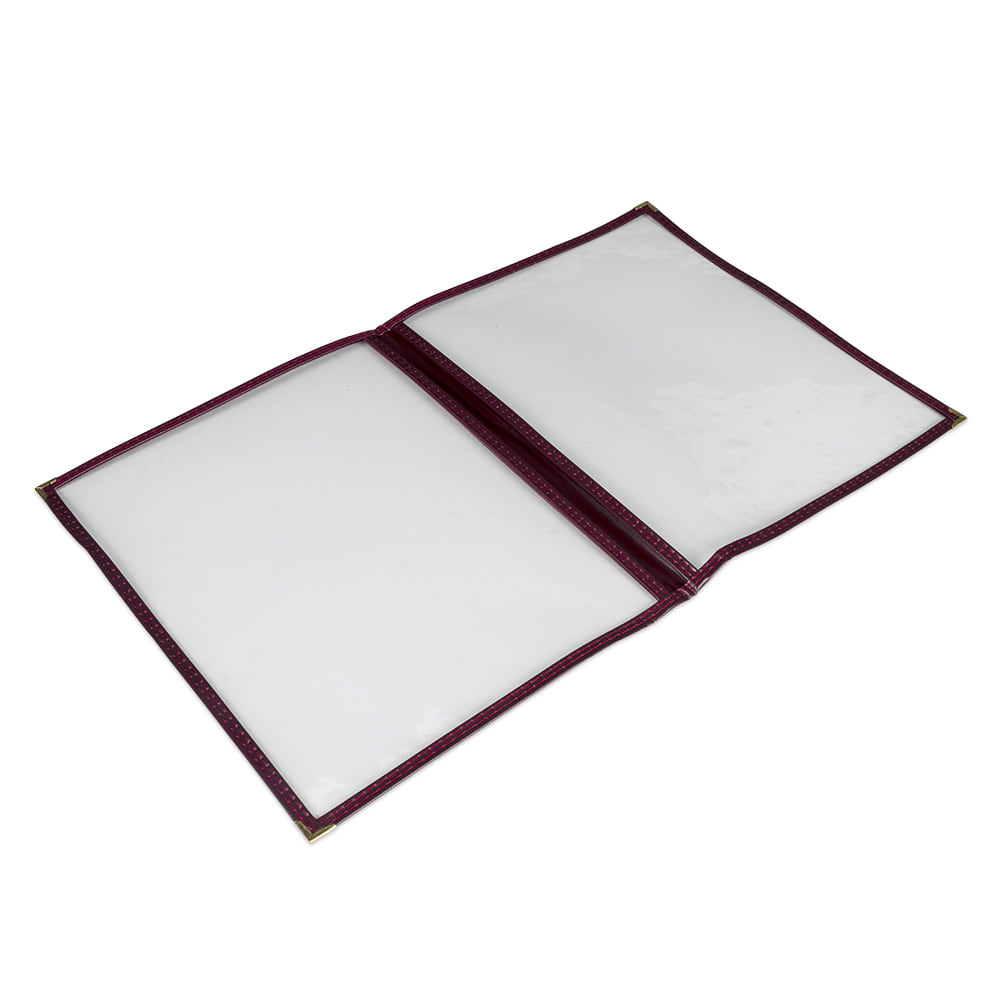 "Update MCV-2RD Double Fold Menu Cover - 9 1/4x12"" Transparent/Red"