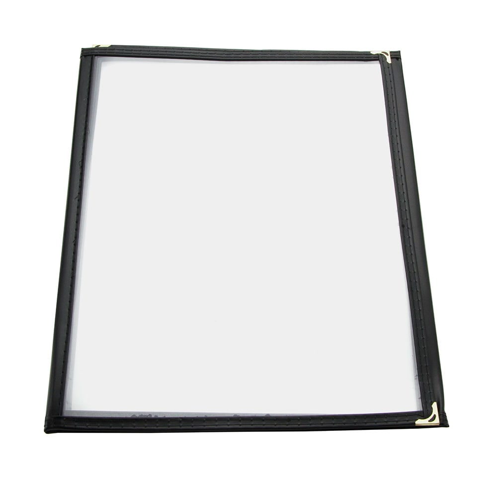 "Update MCV-3BK Triple Fold Menu Cover - 9-1/4x12"" Transparent/Black"