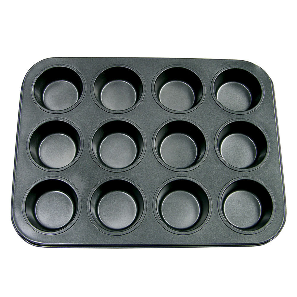"""Update MPNS-12 12 Cup Muffin Pan - 13.87"""" x 10.5"""", Carbon Steel"""