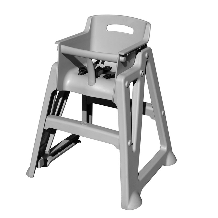 "Update PP-HC/GR 29"" Stackable High Chair w/ Waist Strap - Plastic, Gray"