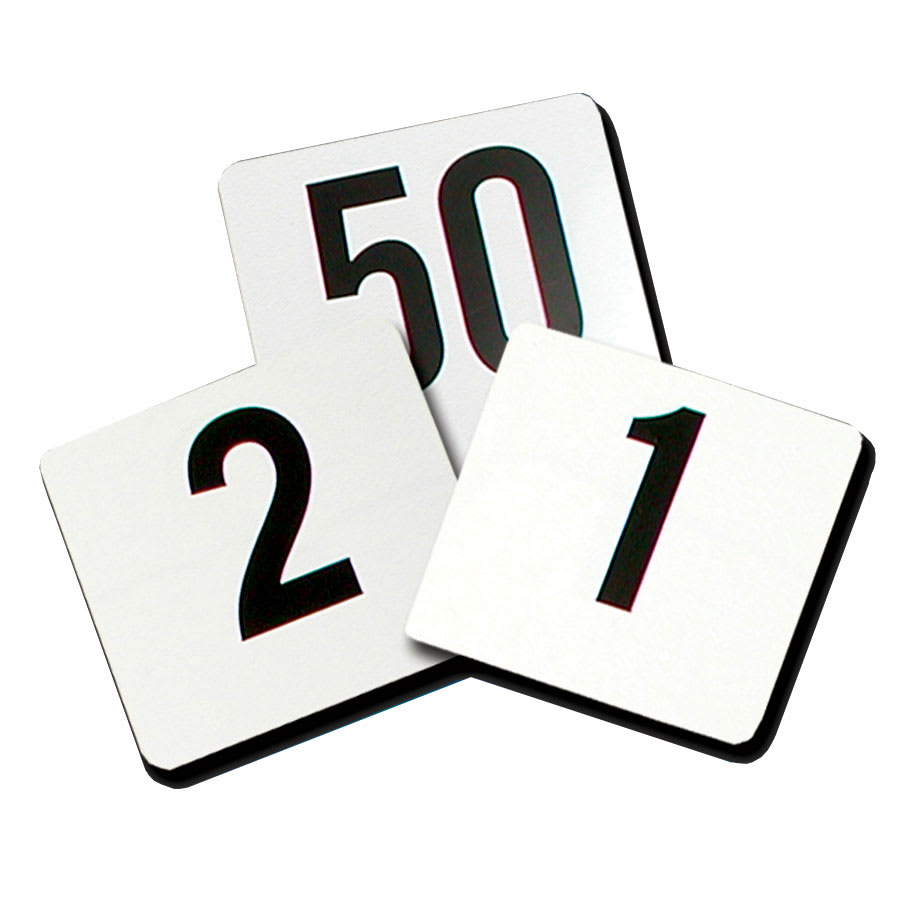 "Update PTN4/1-100 Tabletop Number Cards - #1 100, 4"" x 4"", White/Black"