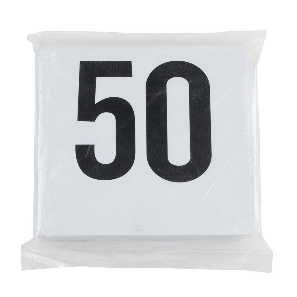 "Update PTN4/1-50 Tabletop Number Cards - #1 50, 4"" x 4"", White/Black"
