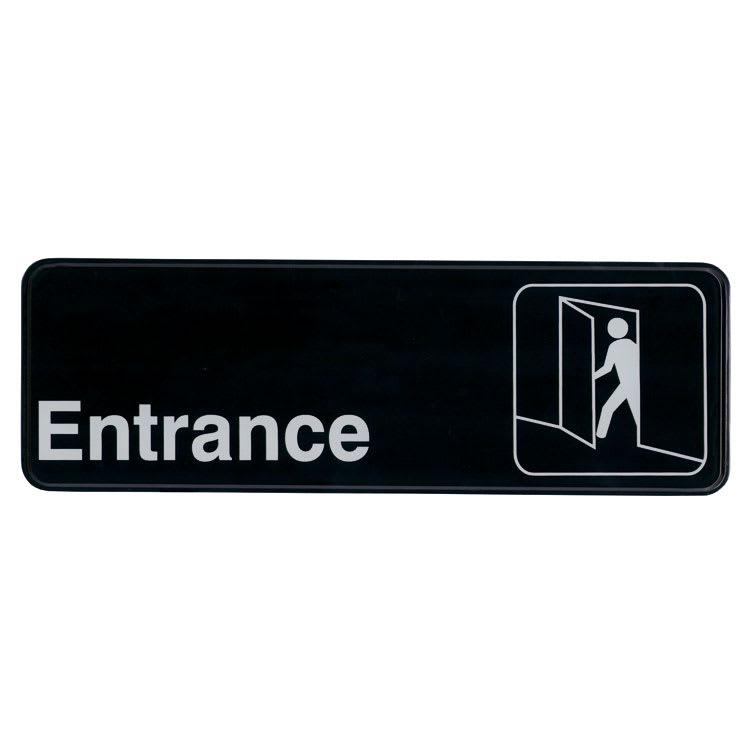 """Update S39-10BK Entrance"""" Sign - 3x9"""" White on Black"""