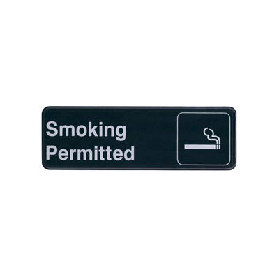 """Update S39-12BK Smoking Permitted"""" Sign - 3x9"""" White on Black"""