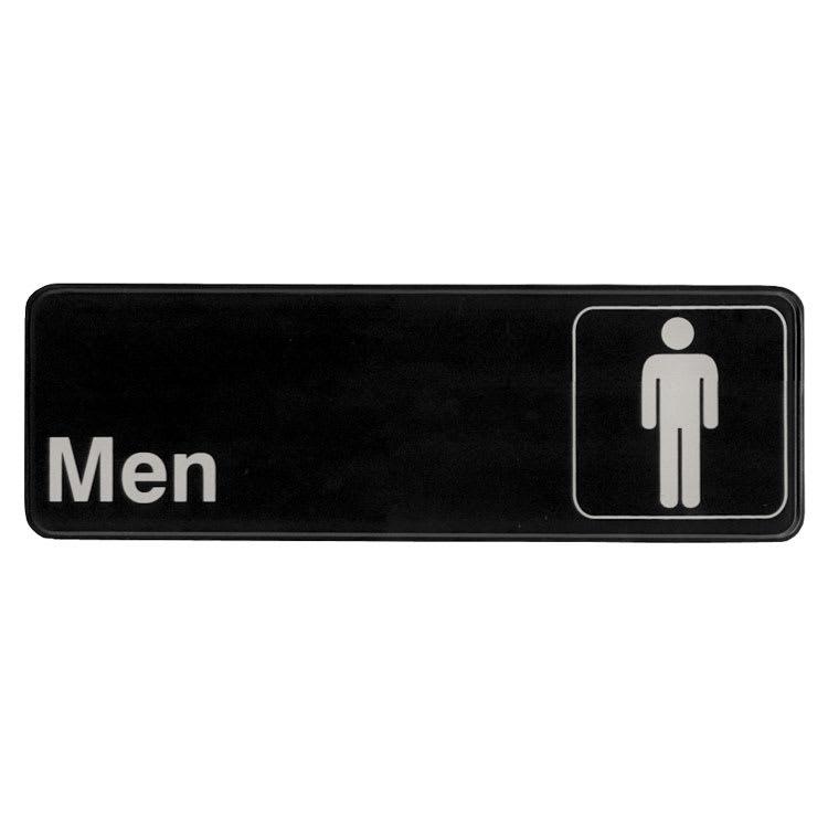 """Update S39-13BK Men"""" Sign - 3x9"""" White on Black"""