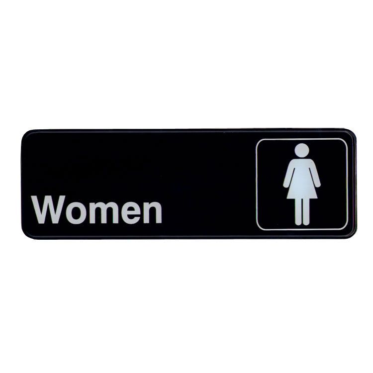 "Update S39-14BK Women"" Sign - 3x9"" White on Black"