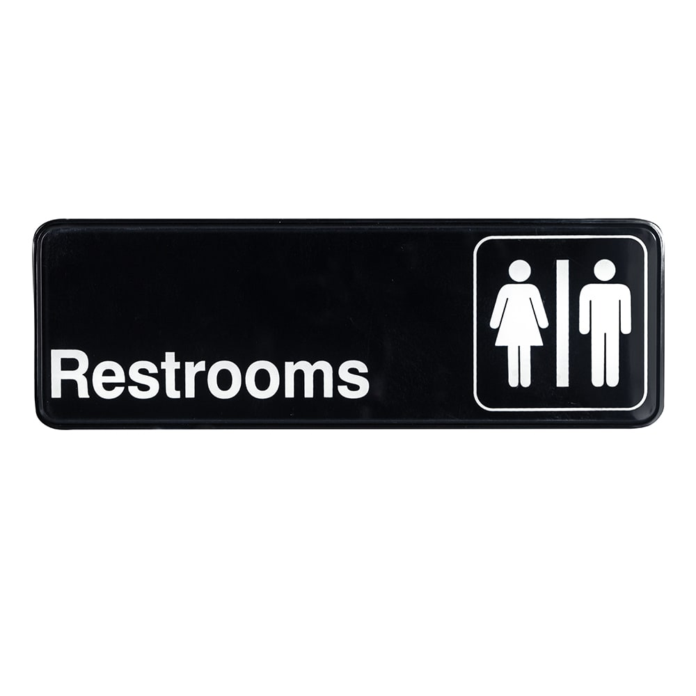 "Update S39-15BK Restrooms"" Sign - 3x9"" White on Black"