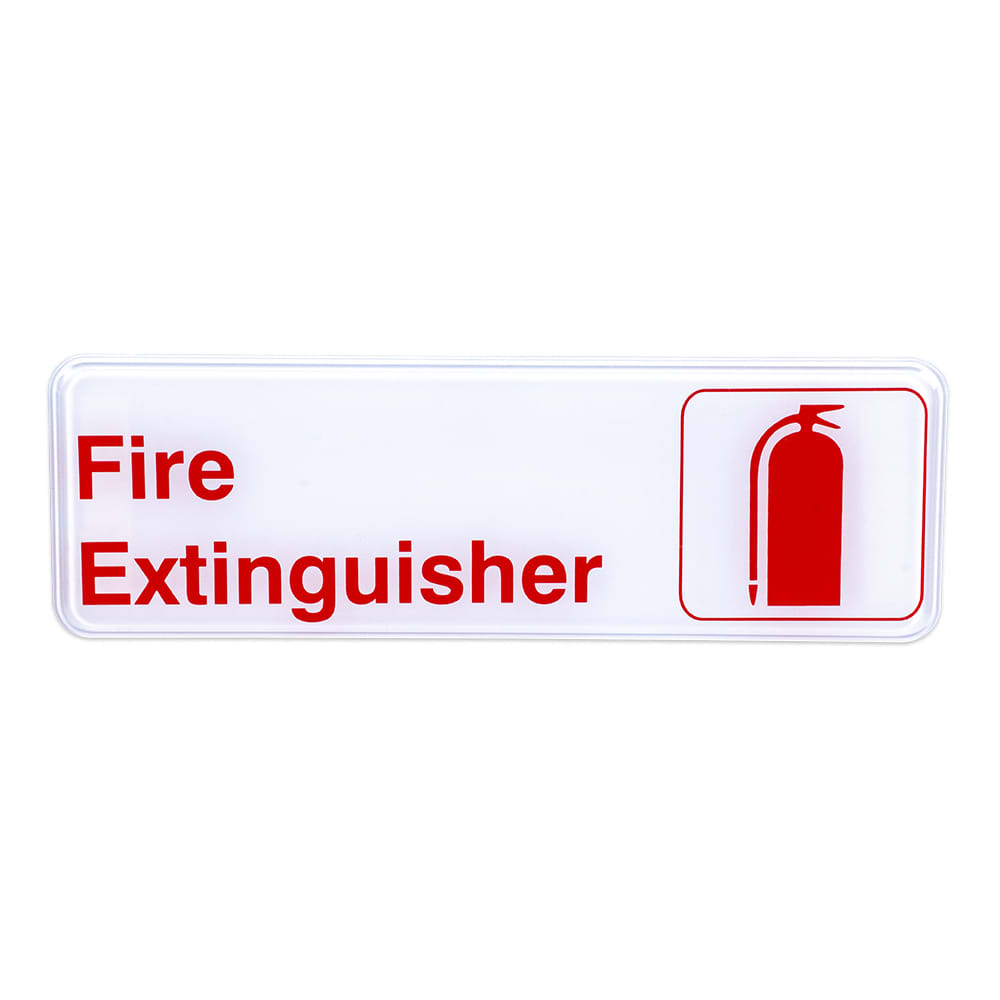 "Update S39-16RD Fire Extinguisher Sign - 3"" x 9"", Red on White"
