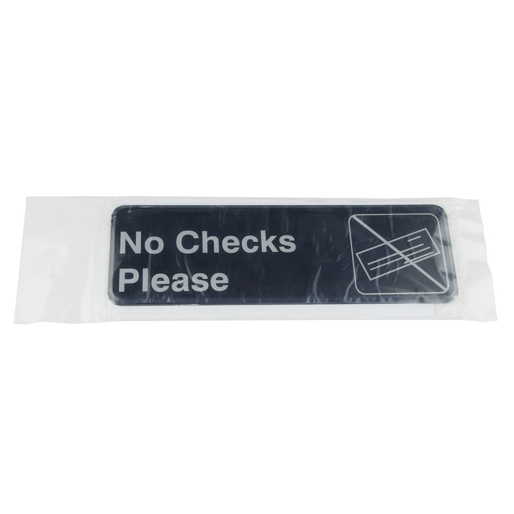 "Update S39-17BK No Checks Please"" Sign - 3x9"" White on Black"