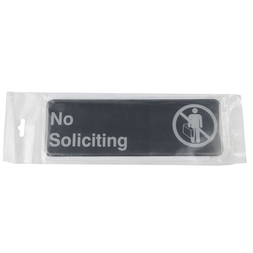 """Update S39-22BK No Soliciting Sign - 3"""" x 9"""", White on Black"""