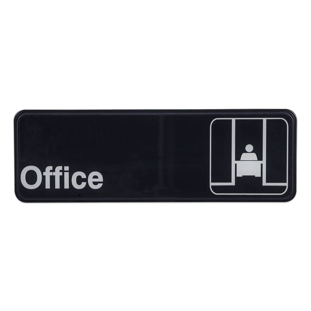"Update S39-23BK Office"" Sign - 3x9"" White on Black"