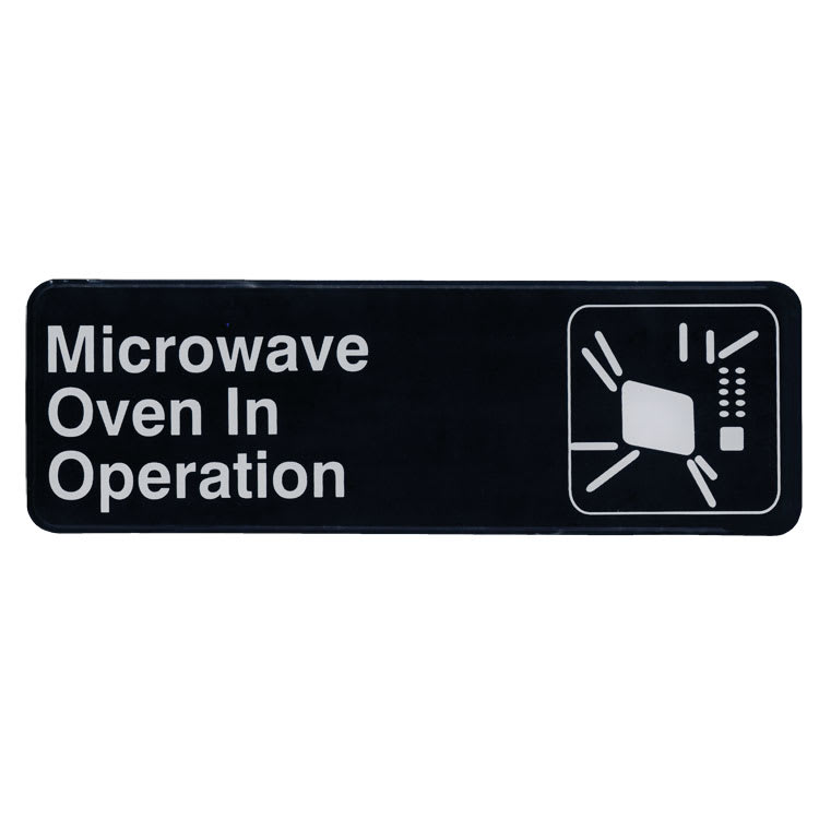 """Update S39-24BK Microwave Oven in Operation"""" Sign - 3x9"""" White on Black"""