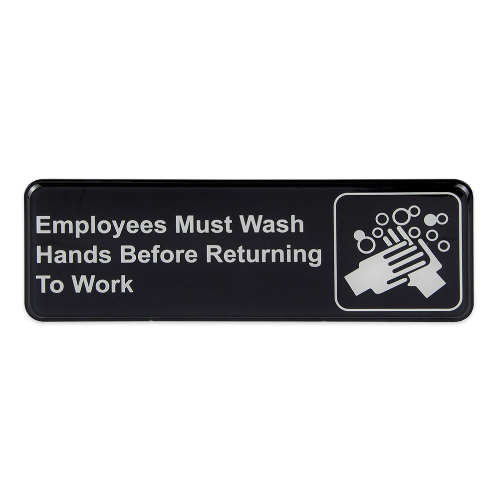 "Update S39-25BK Employees Must Wash Hands..."" Sign - 3x9"" White on Black"