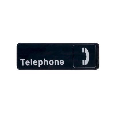 "Update S39-28BK Telephone"" Sign - 3x9"" White on Black"