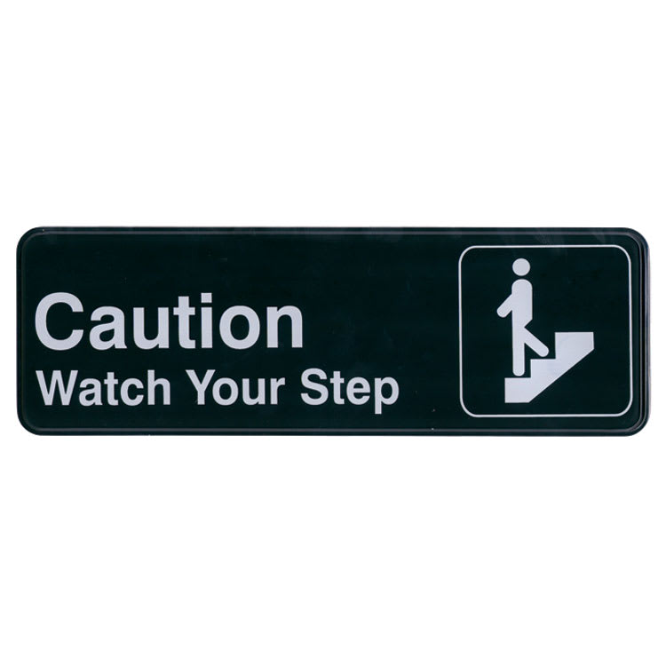 """Update S39-29BK Caution Watch Your Step Sign - 3"""" x 9"""", White on Black"""