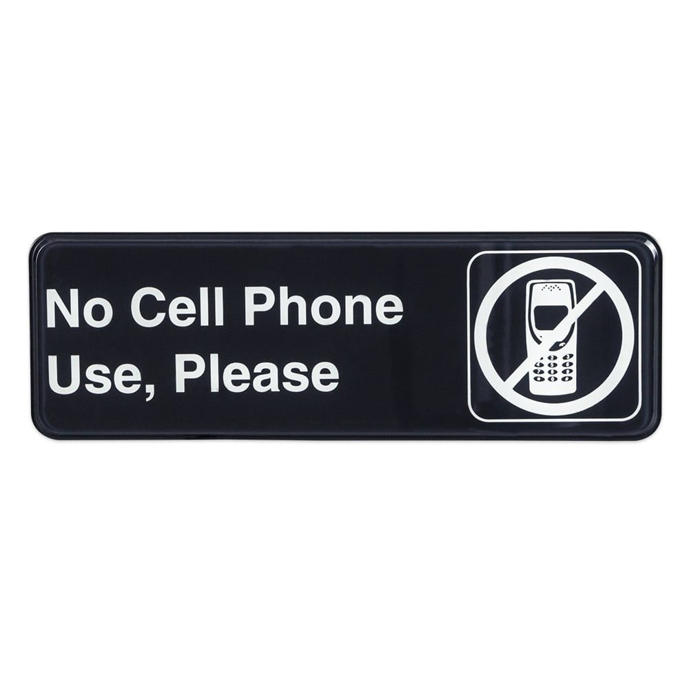 "Update S39-31BK No Cell Phone Use Sign - 3"" x 9"", White on Black"