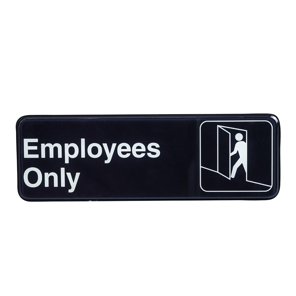 "Update S39-4BK Employees Only Sign - 3"" x 9"", White on Black"