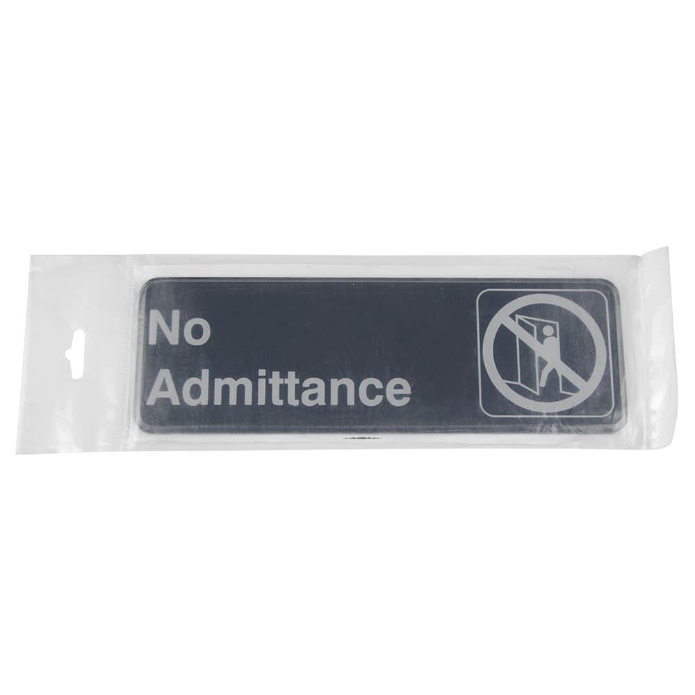 "Update S39-5BK No Admittance Sign - 3"" x 9"", White on Black"