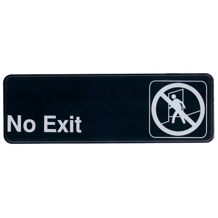 """Update S39-6BK No Exit"""" Sign - 3x9"""" White on Black"""