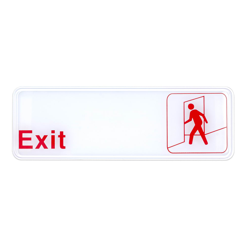 "Update S39-7RD Exit Sign - 3"" x 9"", White on Black"
