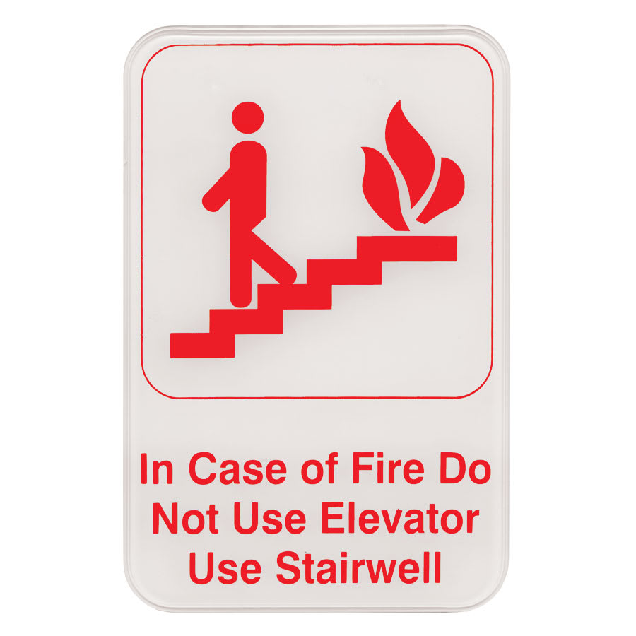 "Update S69-10RD In Case of Fire Sign - 6"" x 9"", Red on White"