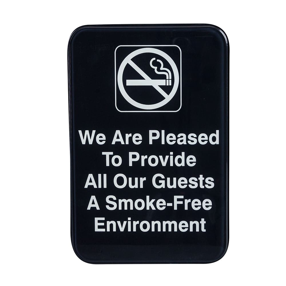 "Update S69-1BK We are Please toà"" Sign - 6x9"" White on Black"