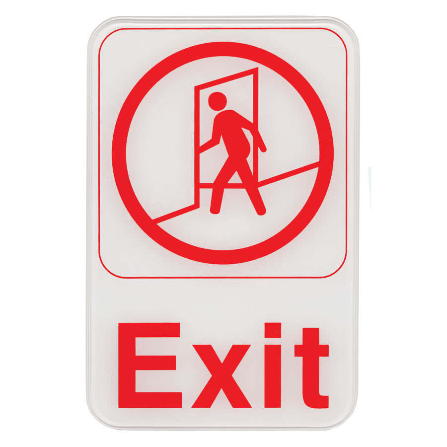 "Update S69-2RD Exit Sign - 6"" x 9"", Red on White"