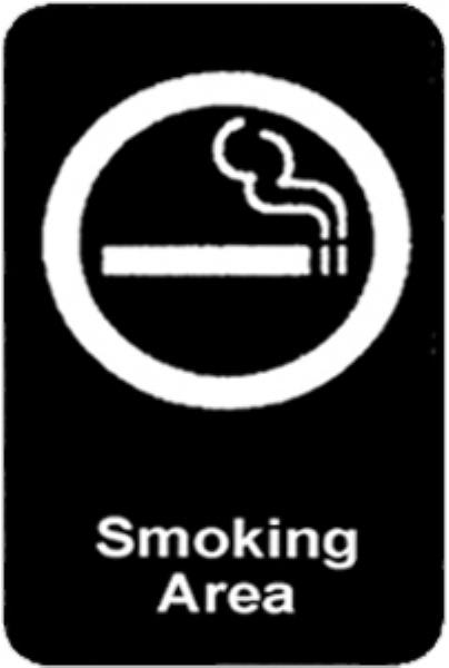 "Update S69-4BK Smoking Area"" Sign - 6x9"" White on Black"